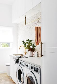 This is what the home of Scandi interiors store owner looks like, HOME – Is where the heart is! Making our old home cozy, comfortable, ecclectic & a little bit modern. Inside the gorgeous Scandi home of norsu Co-founder Nat Wheeler Small Laundry, Laundry In Bathroom, Laundry Decor, Modern Laundry Rooms, Bath Laundry Combo, Hidden Laundry, Compact Laundry, Laundry Shop, Laundry Powder