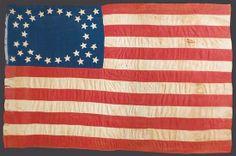 LARGE 34 STAR CIVIL WAR ERA U.S. FLAG.  1861-1863. Handsewn cotton.