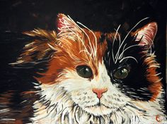 Calico Cat Portrait  24x18 by CrystalsCreativeShop on Etsy, $250.00