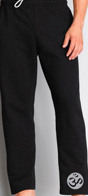 Mens Yoga Pants with OM Leg Print Yoga Pants For Men Men's Yoga Pants. 50/50 cotton/poly. Mens sizes Open ended leg openings (no elastic) Drawstring