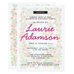 Surprise Birthday Invitations Confetti Surprise Birthday Party Invitations