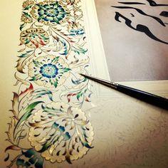 Illuminated Manuscript Border in Progress Illuminated Letters, Illuminated Manuscript, Cuadros Diy, Illumination Art, Turkish Art, Calligraphy Art, Calligraphy Tutorial, Islamic Calligraphy, Art Graphique