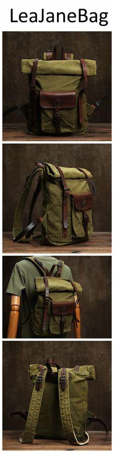 Canvas Backpack, Laptop Backpack, Travel Backpack, Leather Backpack, Monogram Logo, Canvas Leather, Backpacks, Larger, Bags