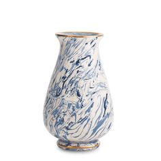 Blue Marbleized Clay Tapering Vase ($595) ❤ liked on Polyvore featuring home, home decor, vases, blue vase, blue home accessories, blue home decor and clay vase