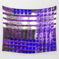 Street Plaid Wall Tapestries by #ArtsyCrafteryStudio | Page 2 of 3 | Society6 blue purple white unsymmetrical grid design.
