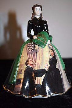 "Gone With the Wind Porcelain Scarlett O'Hara ""Paris Hat Dress"" Bradford Exchange #8"