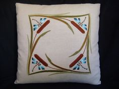 Hand Embroidered, Arts and Crafts, Craftsman, Cattails and Dragonflies Pillow Pillow Embroidery, Embroidery Scissors, Embroidery Kits, Embroidery Designs, Machine Embroidery, Stenciled Pillows, Long And Short Stitch, Art And Craft Design, Satin Stitch