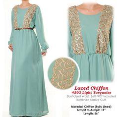 LAST ONE Pastel Chiffon Laced Abaya Muslim Islamic by MissMode21, $34.00