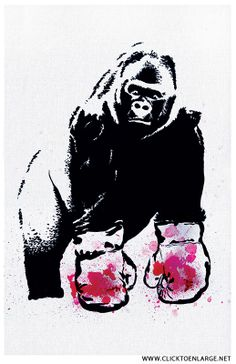 Gorilla Boxing Gloves Pop Art Print.
