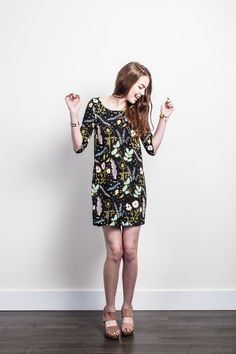 Desert Floral Shift Dress in Blue Mint, Pale Pink and Yellow Ochre on Black