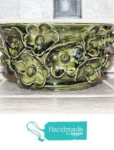 Hand thrown ceramic bowl. One of a kind with raised flowers. Green glaze. Food and dishwasher safe. One of a kind.6.6 x 3.6 wide,Food,microwave and dishwasher safe. from Gabilu Boutique https://www.amazon.com/dp/B01M0FZIC8/ref=hnd_sw_r_pi_dp_6RJGybHA1AXYZ #handmadeatamazon