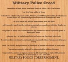 Military Police Creed. Military Police Army, Military Salute, Us Army, Fire Badge, Army Training, Army Day, Marine Corps, Military History, Law Enforcement