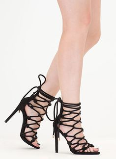 Believe It Or Knot Looped Lace-Up Heels