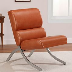 $140 each, also available in black.  Rialto Rust Faux Leather Chair - Overstock™ Shopping - Great Deals on Living Room Chairs
