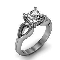1/2 Carat Palladium Asscher-Cut Engagement Ring