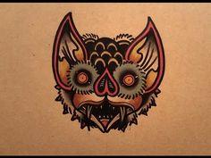 How to Draw a Bat Face Old School Tattoo. for tattoo enquires etc email: rick Xoil Tattoos, Tattoos Mandala, Octopus Tattoos, Geometric Tattoo Design, Geometric Tattoo Arm, Tattoo Ink, Traditional Tattoo Old School, Neo Traditional Tattoo, American Traditional