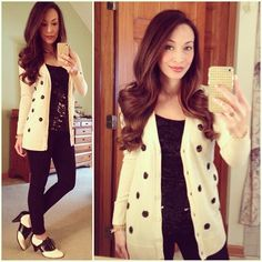 Retro Classic:  #blackandwhite #oldnavy #polkadot #cardi and #sequin tank top, #bullheadblack #skinnies #bass #ghbass #saddleshoes via #shop6pm #ootd #fallstyle #wiwt #fashion #fashionista #whatiwore #lookoftheday #instafashion #instastyle #igfashion #igstyle #mystyle #currentlywearing #instalook #hapa #followme #stylediaries