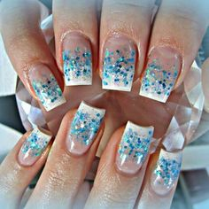 White and blue acrylic nails