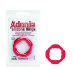 Adonis Silicone Ring Red (Package Of 8) by California Exotic Novelties. $89.71. Great to stock your shelfs. great bedroom gift. 8 Pack. Sturdy erection enhancers for comfort and stamina. Pure Silicone. 1.25/ 3 cm (diameter.) (Package Of 8)