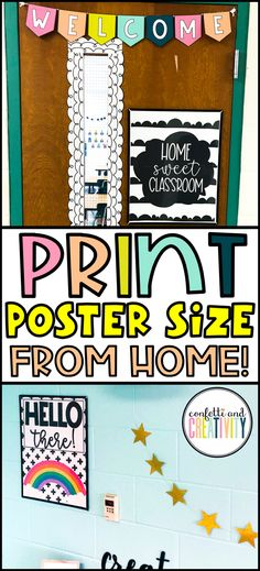 Printing Poster Size for the Classroom! Learn how to print poster size from home to transform your classroom to be a home away from home! Excellent classroom tip to easily enhance your classroom decor with minimal effort. Kindergarten Classroom Decor, Diy Classroom Decorations, 2nd Grade Classroom, High School Classroom, Classroom Design, Future Classroom, Teacher Posters, Classroom Posters, Classroom Themes