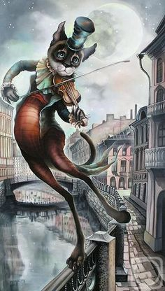 romanticism Painting - The Moon On A Bow by Sokolova Nadezhda Crazy Cat Lady, Crazy Cats, Cat Drawing, Painting & Drawing, Cool Cats, Chesire Cat, Image Chat, Art Et Illustration, Cat Wallpaper