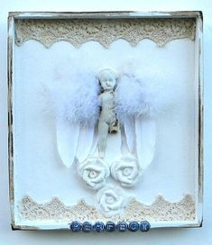 Antique Rose and Lace Angel Doll Shadow Box Assemblage Art Antique Roses, Antique Lace, Zen Art, Old Dolls, Assemblage Art, White Roses, Shadow Box, Old Things, Angel