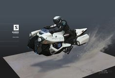 Hover Bike by Sang Han Futuristic Motorcycle, Futuristic Art, Futuristic Technology, Concept Ships, Concept Cars, Maquette Star Wars, Hover Bike, Flying Vehicles, Concept Motorcycles