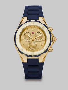 navy & gold!!! aahhhhhh!!!  Michele Watches - Large Goldtone Stainless Steel Chronograph Watch - Saks.com
