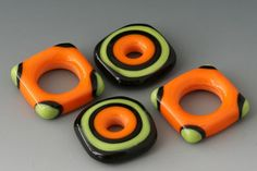 Bright Squared Discs 4 Handmade Lampwork Beads Lime by outwest