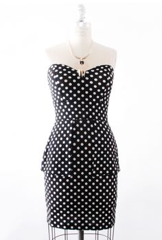 Hourglass Amusement Polka Dot Peplum Dress in Black/White   Sincerely Sweet Boutique