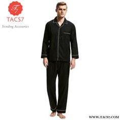 Tony&candice Pajamas Men Sleepwear 100% Cotton Men's Nightwear Long Sleeve Sleep Lounge Casual Male Nightgown Soft Pyjama Set Black / Xl