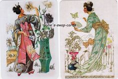 V6 PRETTY LADIES swap playing cards MINT COND Japanese Geisha girls linens