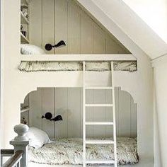I wish I had bunkbeds in my room when I was a little girl. Can you imagine all the fun nights I would have had with my friends in these! Bunk Beds, Under Stairs, Small Spaces, Bed, Bunk Beds Built In, Bed Nook, Small Bedroom, Attic Spaces, My Room