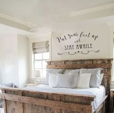 Home Decor Ideas Home Decor - DIY Farmhouse Decor Ideas at Super cute ways to decorate your home!Home Decor - DIY Farmhouse Decor Ideas at Super cute ways to decorate your home! Farmhouse Master Bedroom, Home Bedroom, Bedroom Ideas, Headboard Ideas, Modern Bedroom, Bed Ideas, Bedroom Country, Modern Headboard, Dream Bedroom