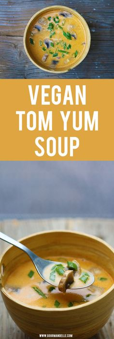 Here's how you can easily make vegan tom yum soup at home! This delicious Thai soup recipe is bursting with flavors! Give it a try! #tomyum #asianrecipes #veganrecipes