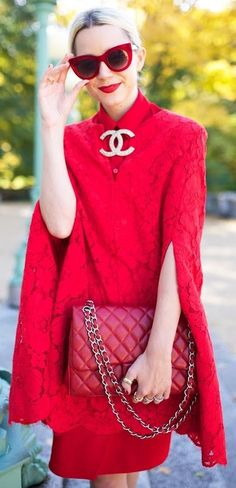 Red Lace Cape By B C B G Fall Street Style Inspo by Atlantic - Pacific