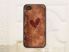 Heart phone case, iPhone 4 4S 5 5s 5C, Galaxy S3 S4,  Vintage worn leather, Textured phone case, Aged phone case P3553 on Etsy, $17.99