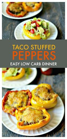 Taco Stuffed Peppers - An easy low carb dinner - 3.3g net carbs