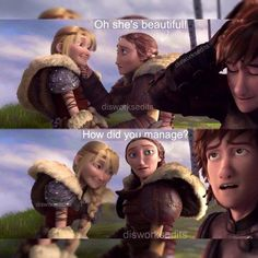 Look at hicup's and astrid's face in the 2 picture(so diferent). Funny Disney Jokes, Disney Memes, Dreamworks Dragons, Disney And Dreamworks, Httyd, Really Funny Memes, Funny Relatable Memes, Hicks Und Astrid, Dragon Memes