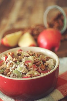 Apple Pecan Chicken Salad for Two - delicious way to use up leftover chicken or turkey (at Thanksgiving, or anytime!) Sub safflower mayo for the yogurt.