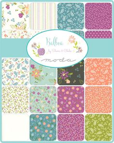 "Balboa Charm Pack, Moda 37590PP, 5"" Inch Precut Fabric Squares, Floral Charm Pack, Modern Floral Fabric, Sherri and Chelsi by Jambearies on Etsy"