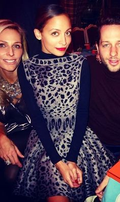 Nicole Richie wearing Azzedine Alaia Fall 2011 Leopard Print Dress