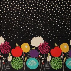 black wildflower echino canvas fabric bird flower