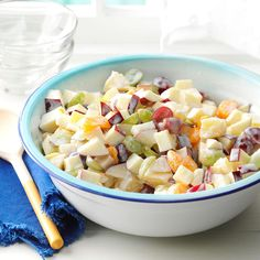 Company Fruit Salad Recipe -We first tried a salad like this at a local deli. Since I couldn't get that recipe, I started mixing up different dressings until I hit on this one. Now I make this refreshing delightful salad for every picnic and get-to-gether. It can be a snack, side dish or dessert. -Connie Osterhout, Napoleon, Ohio