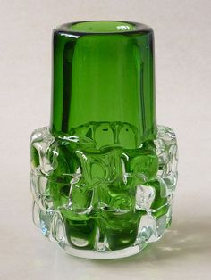 Frantisek VIZNER 1971 Glas Vase Skrdlovice, Czech Art Glass