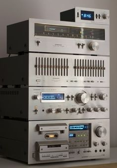 Vintage Pioneer HI Fi with (from the top) Timer, Tuner, Graphic Equalizer, Amplifier and Cassette Deck