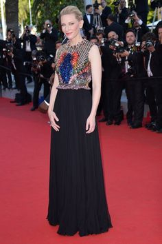 """Best of: Cannes Film Festival (May 2014) Australian actress Cate Blanchett poses as she arrives for the screening of the animated film """"How to train your Dragon 2"""" in Cannes, France"""