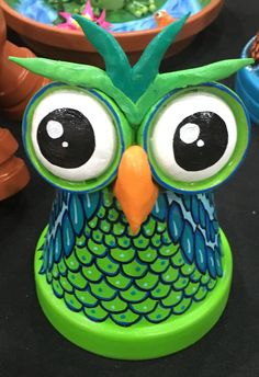 Clay pot terra cotta whimsical owl by Family Time Crafts (FB)
