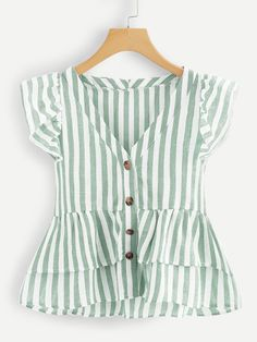 Shop V Neckline Single Breasted Striped Babydoll Top online. SHEIN offers V Neckline Single Breasted Striped Babydoll Top & more to fit your fashionable needs. Summer Outfits, Cute Outfits, Beach Outfits, Plus Size Blouses, Women's Blouses, Cute Blouses, Baby Dress, Blouse Designs, Plus Size Fashion