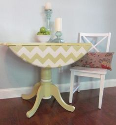 SOLD - Green and white hand-painted chevron drop leaf pedestal table on Etsy, $149.99